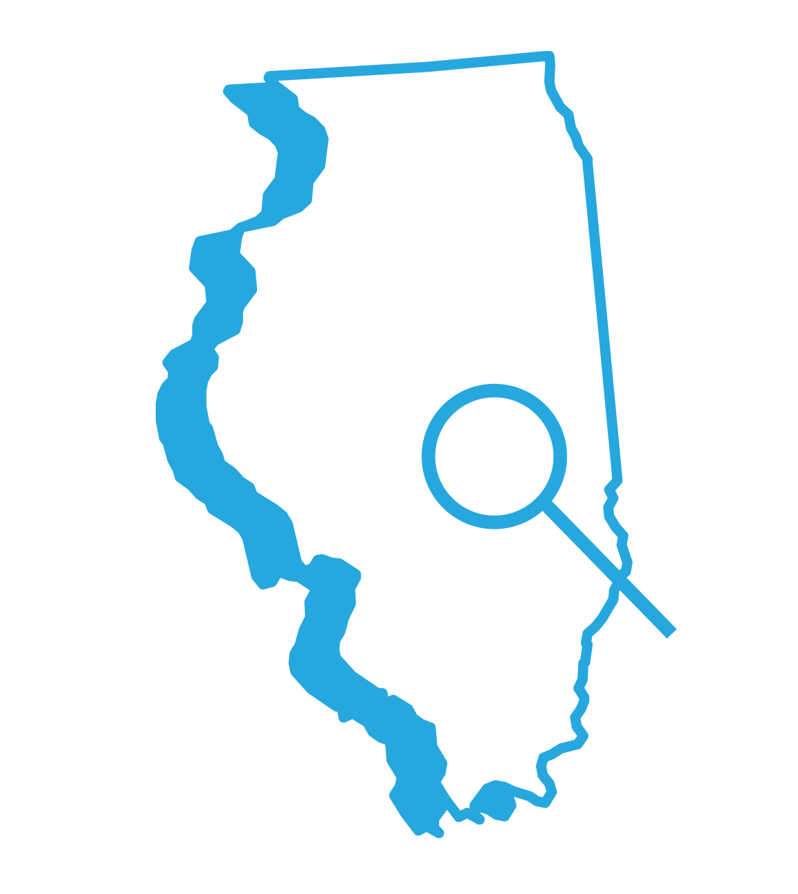 Outline of the State of Illinois with a magnifying glass