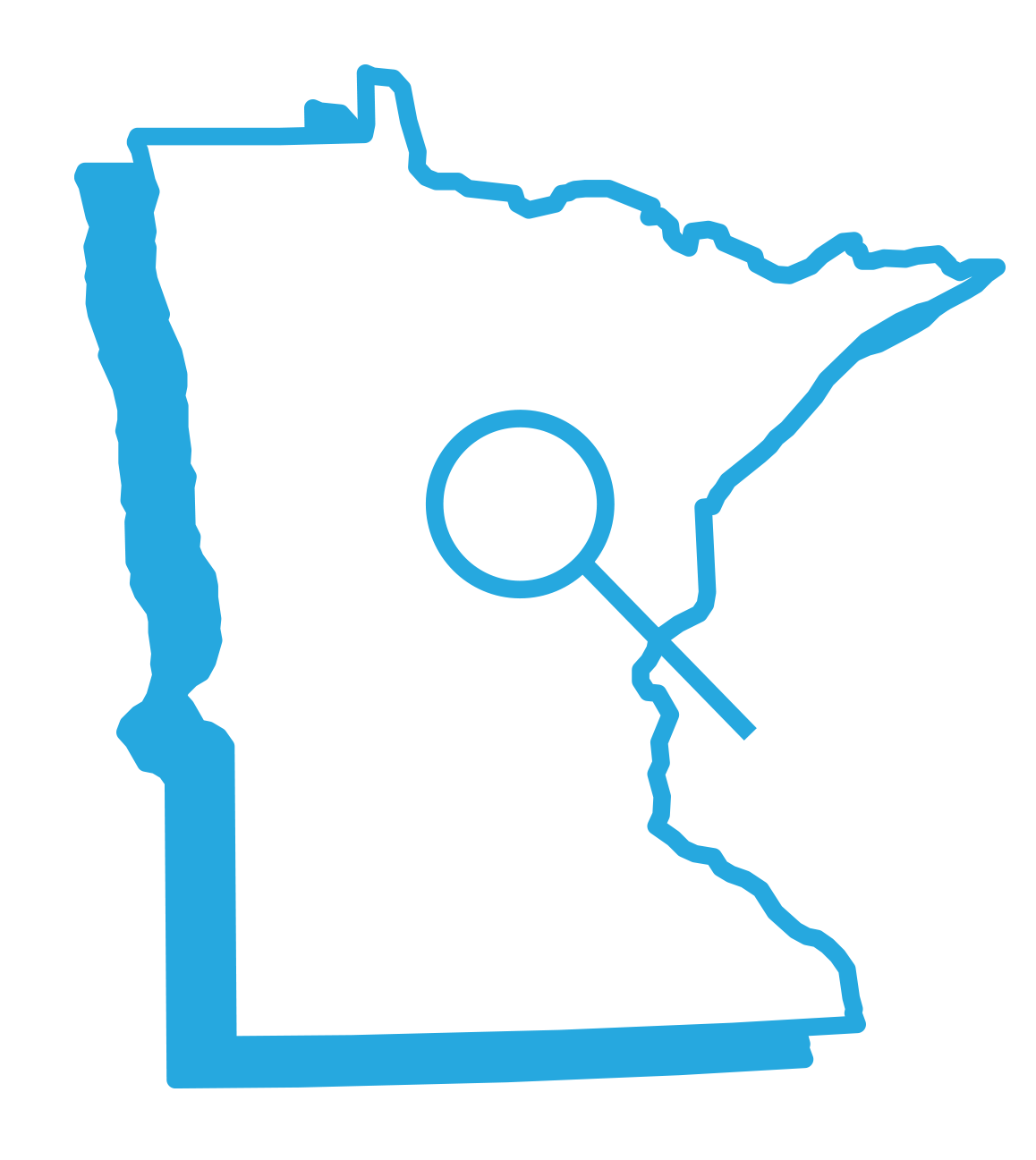 Outline of the State of Minnesota with a magnifying glass