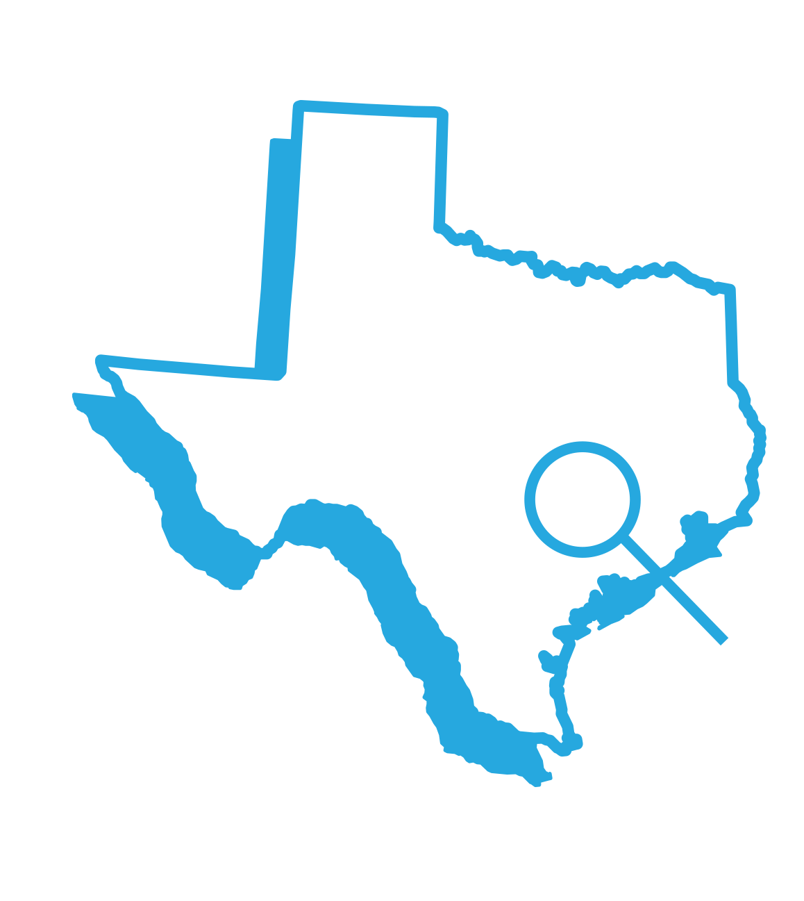 Outline of the State of Texas with a magnifying glass