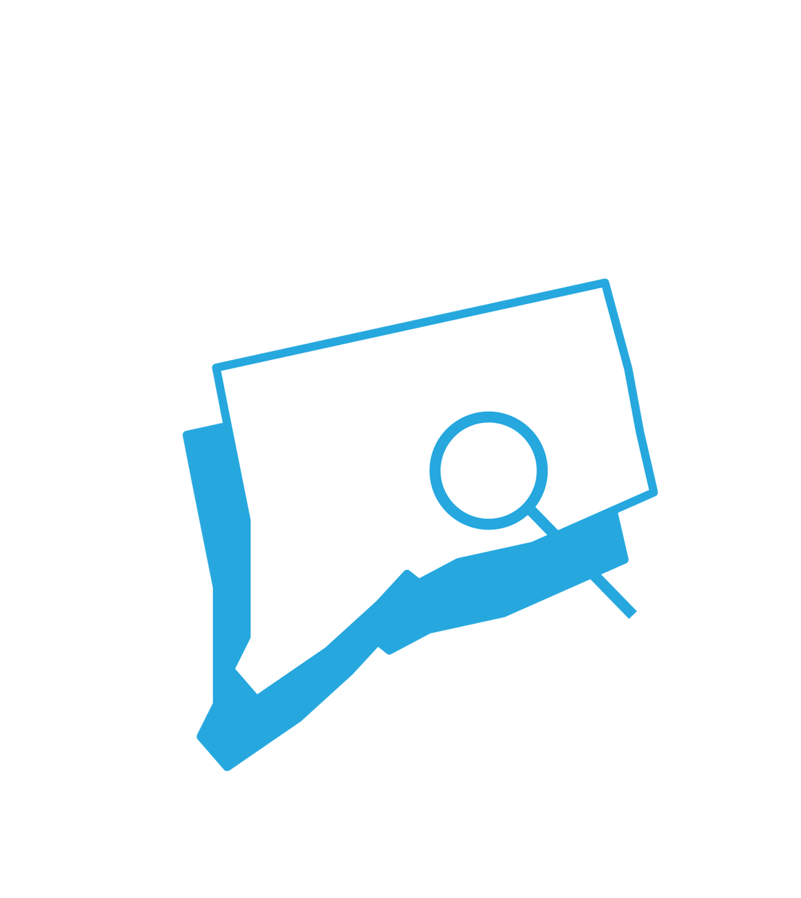 Outline of the State of Connecticut with a magnifying glass